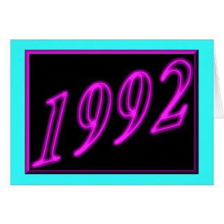 Cartão Feliz aniversario 1992 anos dos anos 90 de néon