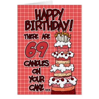 Cartão Feliz aniversario - 69 anos velho