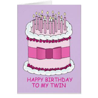 Cartão Feliz aniversario a meu bolo gêmeo, grande com