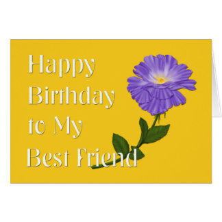 Cartão Feliz aniversario a meu melhor amigo, flor roxa