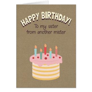 Cartão Feliz aniversario a minha irmã de um outro senhor