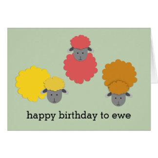 Cartão Feliz aniversario à ovelha