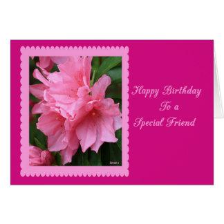 Cartão Feliz aniversario a uma azálea especial do rosa do