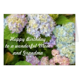 Cartão Feliz aniversario a uma mamã e a uma avó