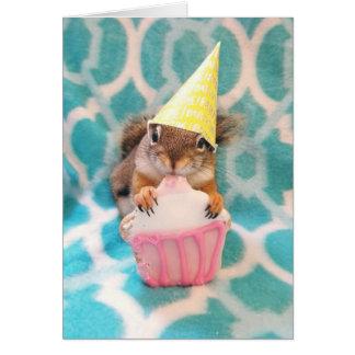 Cartão Feliz aniversario, amigo do esquilo