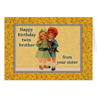 Cartão Feliz aniversario ao irmão gémeo da irmã gêmea