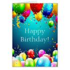 Cartão Feliz aniversario - balões coloridos azul -