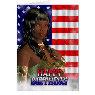 Cartão Feliz aniversario, bandeira americana, EUA