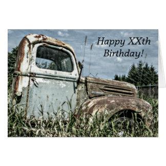 Cartão Feliz aniversario - caminhão antigo velho do