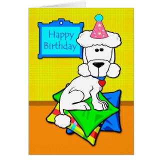 Cartão Feliz aniversario, caniche padrão branca em