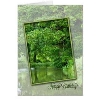 Cartão Feliz aniversario, cena tranquilo do rio