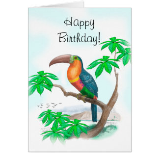 Cartão Feliz aniversario colorido de Tucan