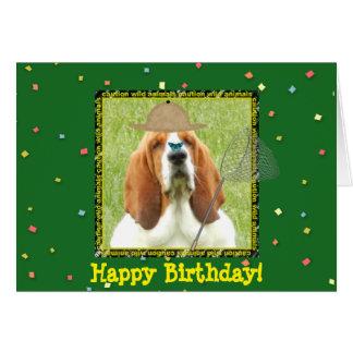 """Cartão """"Feliz aniversario"""" com Basset Hound como o"""