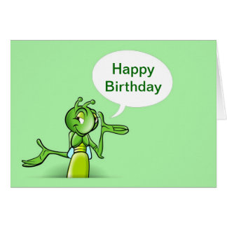 Cartão Feliz aniversario com fala do grilo