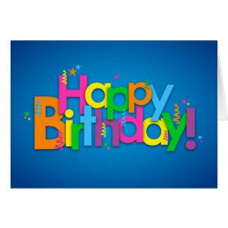 Cartão Feliz aniversario - cores brilhantes