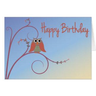 Cartão Feliz aniversario - coruja