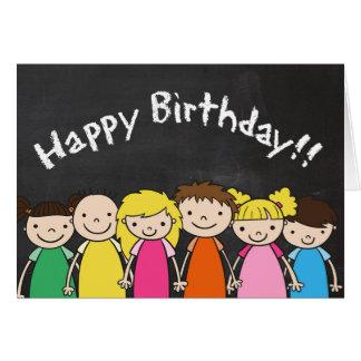 Cartão Feliz aniversario customizável com miúdos do