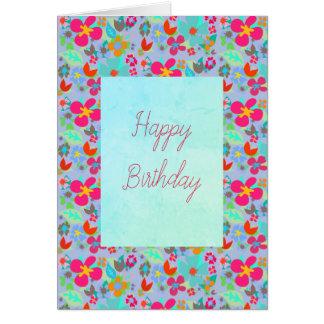 Cartão Feliz aniversario customizável floral