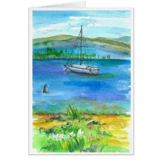 Cartão Feliz aniversario da aguarela do lago mountain da
