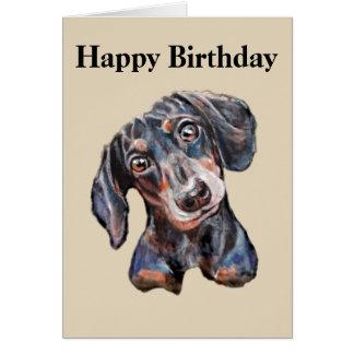 Cartão Feliz aniversario da arte colorida do cão de