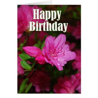Cartão Feliz aniversario da azálea cor-de-rosa