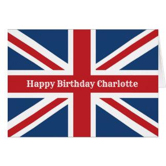 Cartão Feliz aniversario da bandeira clássica de Union