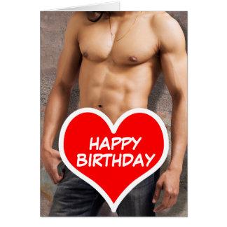 Cartão Feliz aniversario da caixa desencapada do homem