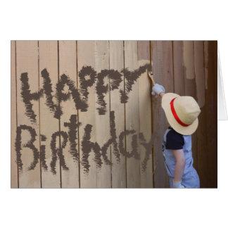 Cartão Feliz aniversario da cerca da pintura do menino de