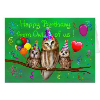 Cartão Feliz aniversario da coruja de nós!