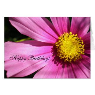 Cartão Feliz aniversario da flor cor-de-rosa do cosmos