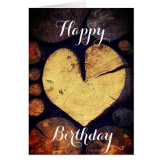 Cartão Feliz aniversario da fotografia de madeira rústica