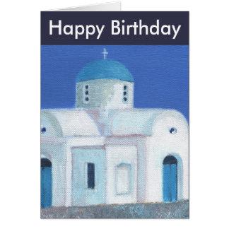 Cartão Feliz aniversario da igreja cipriota grega azul e