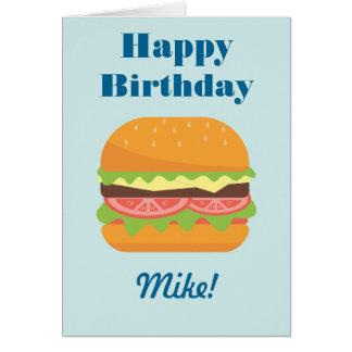 Cartão Feliz aniversario da ilustração do Hamburger