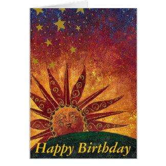 Cartão Feliz aniversario da luz do sol