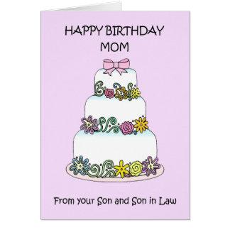 Cartão Feliz aniversario da mamã do filho e do filho na