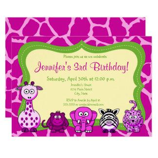 Cartão Feliz aniversario da menina animal da selva do