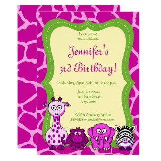 Cartão Feliz aniversario da menina animal do safari de