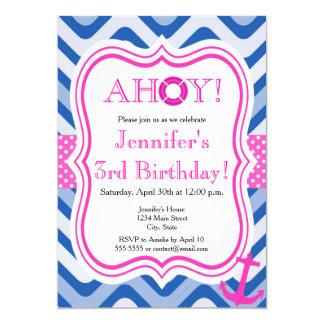 Cartão Feliz aniversario da menina cor-de-rosa náutica