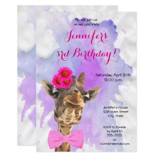 Cartão Feliz aniversario da menina da aguarela do animal