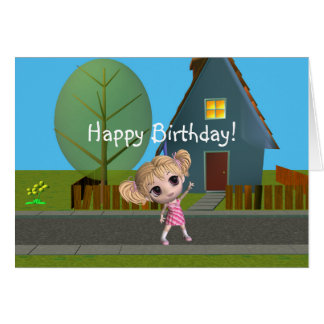Cartão Feliz aniversario da menina de Chibi