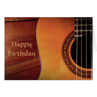 Cartão Feliz aniversario da música de madeira da guitarra