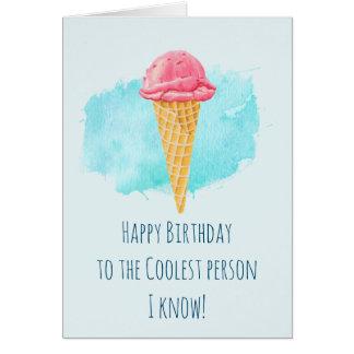 Cartão Feliz aniversario da pessoa a mais fresca do cone