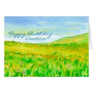 Cartão Feliz aniversario da pradaria do prado do
