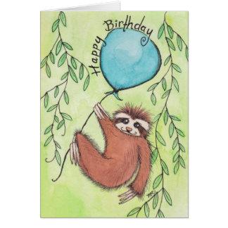 Cartão Feliz aniversario da preguiça bonito