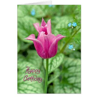 Cartão Feliz aniversario da tulipa cor-de-rosa