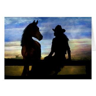 Cartão Feliz aniversario da vaqueira e do cavalo