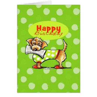Cartão Feliz aniversario das maçãs do Dachshund