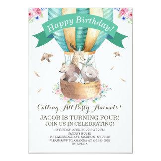 Cartão Feliz aniversario de balão de ar quente dos
