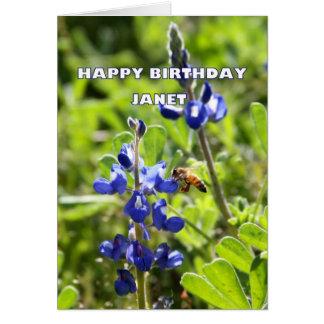Cartão Feliz aniversario de Bluebonnet de Janet Texas