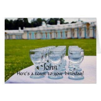 Cartão Feliz aniversario de John, tiros da vodca, palácio